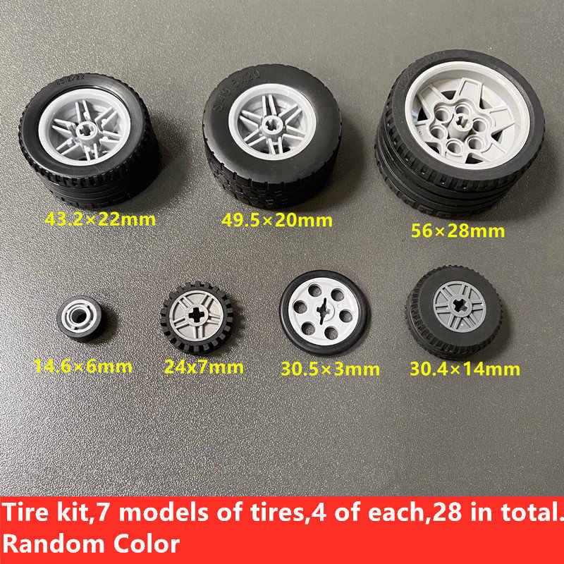 Moc Technic Wheel Gear Parts Set Bulk DIY Building Blocks Bricks Accessories