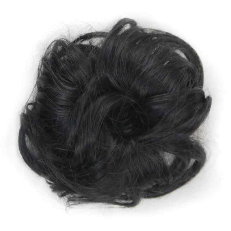 Chignons de cheveux flexibles synthétiques chauds bouclés Chignon Scrunchy élastique désordre ondulé chouchous enveloppement pour Extensions de queue de cheval pour les femmes