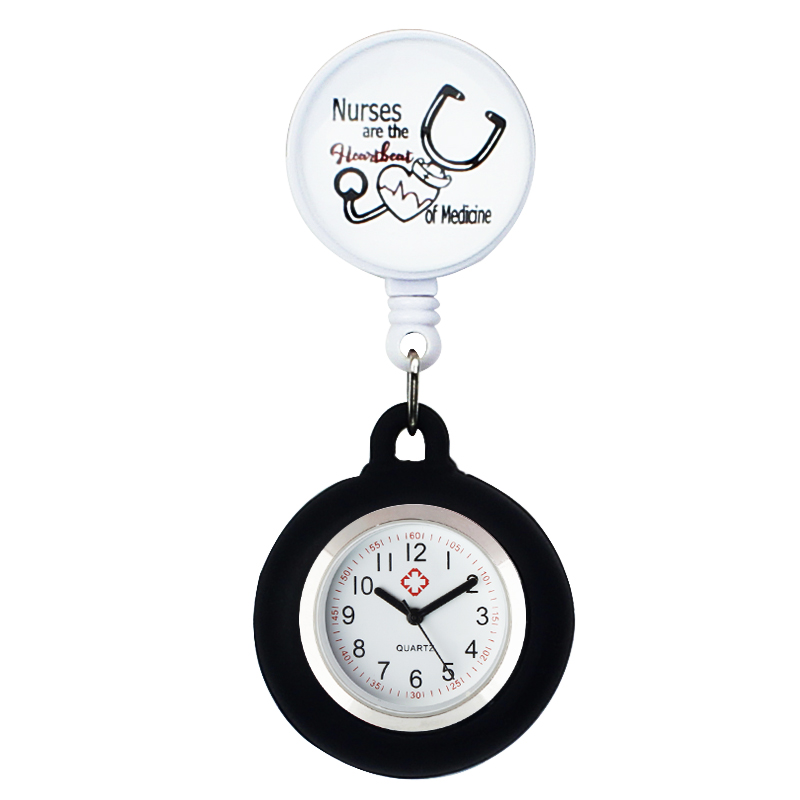 Silicone Loop Hanging Watch Stationary Medical Gift for Nurse Doctor Hospital Women Fashion & Casual Acrylic Quartz Round Alloy