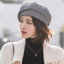 Простой женский шерстяной берет для элегантной леди, зимние женские хлопковые шапки, клетчатые повседневные осенние шапки для девочек