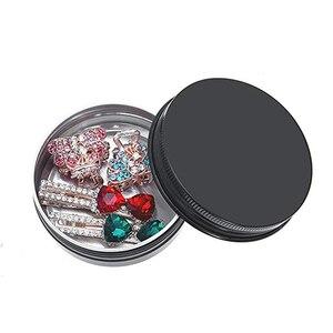 Image 5 - 24Pcs 50g Metal Aluminum Round Tin Cans Box Black Empty Cosmetic Cream Jar Pot Case Screw Thread Lid Lip Balm Container