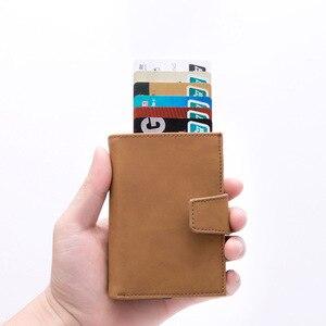 Image 5 - DIENQI kredi kart tutucu erkekler kadınlar Metal RFID Anti manyetik Vintage alüminyum çılgın at PU deri kart cüzdan bozuk para çantaları