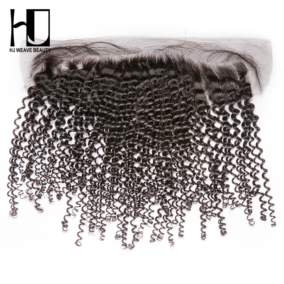 [HJ Weave Beauty] One Cut Hair 13x4 Lace Frontal Brazilian Kinky Curly Remy Hair Natural Color Swiss Lace Human Hair Frontal