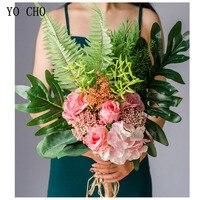 YO CHO Big Bunch Artificial Flowers Wedding Bouquets Silk Fake Flowers bouquets Home Wedding Decoration