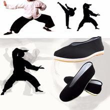 Качественная хлопковая обувь черного цвета; Мужская традиционная китайская повседневная обувь в стиле «кунг-фу» из хлопчатобумажной ткани с боевым искусством «Старый Пекин»