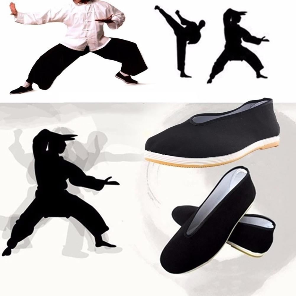 Quality Black Cotton Shoes Men's Traditional Chinese Kung Fu Cotton Cloth Wing Chun Tai-chi Martial Art Old Beijing Casual Shoes