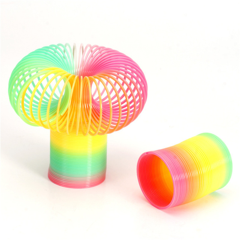 1PC Rainbow Circle Funny Toys Early Development Educational Folding Plastic Spring Coil Children's Creative Magical Toys