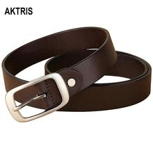 AKTRIS Ladies All-match Retro Style Genuine Leather Belts Simple Buckle Metal Casual Belt for Women Jeans 28mm FCO020