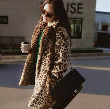 Faux odzież z futrem płaszcz europa i ameryka duże rozmiary odzież z futrem kurtka damska sukienka Sexy Leopord wzór długi płaszcz tanie i dobre opinie Edelweiss Jiangsu 6060