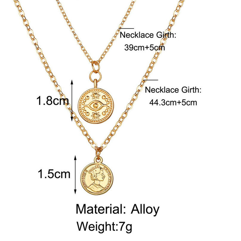 New Fashion Jewelry Pentagram Pendant Clavicle Chain Vintage Star Crescent Three-Layer Women Necklace Choker 4O24 (11)