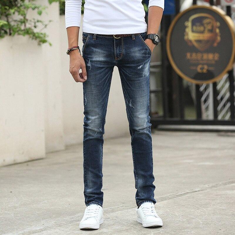 Teenager Men Medium Waist Jeans Elasticity Skinny Pants Korean-style Slim Fit Trousers MEN'S Wear Tight-Fit Slimming Pants