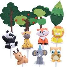 Zoo las zwierząt ciasto wykaszarki dla dzieci dekoracje na przyjęcie urodzinowe proces ceramiczny Cartoon zwierząt na urodziny dziecka babeczka na przyjęcie wykaszarki