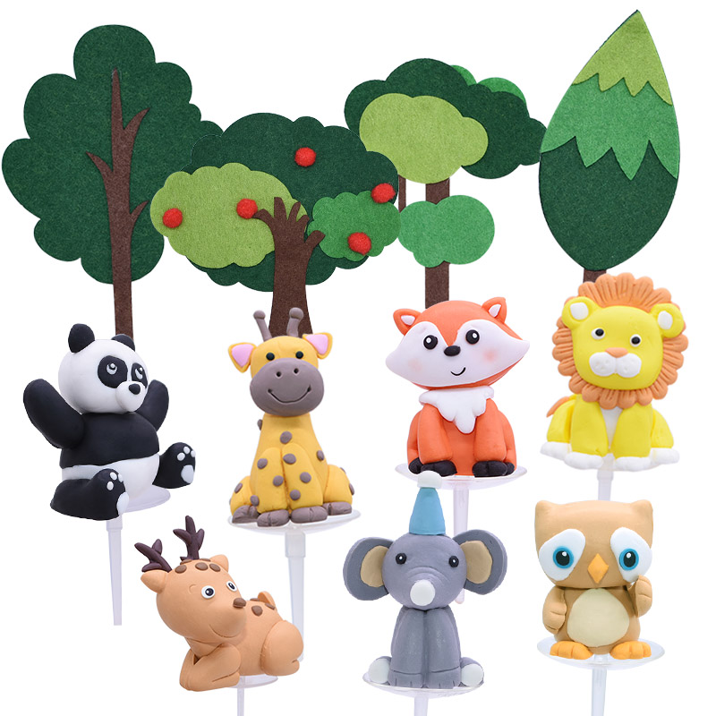 Zoo Forest Animal Cake Toppers Kids Birthday Party Decor Ceramic Process Cartoon Animal for Baby Birthday Party Cupcake Toppers(China)