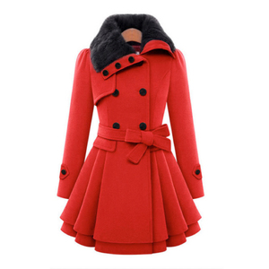 Women Woolen Coats Jacket Fur