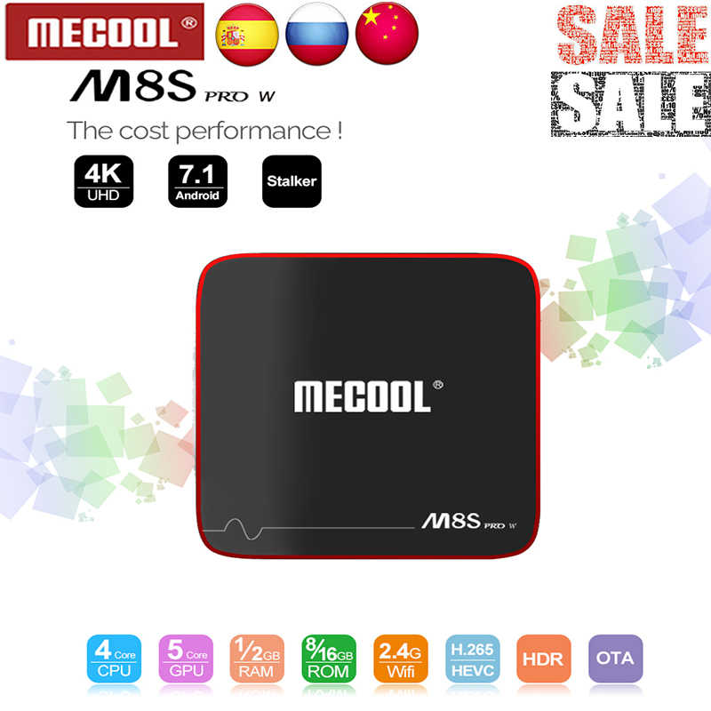 Mecool Set-Top Box M8S Pro W Android 7.1 Smart TV Box S905W Quad Core 2GB + 16GB Dukungan 2.4G Wireless WIFI Media Kotak