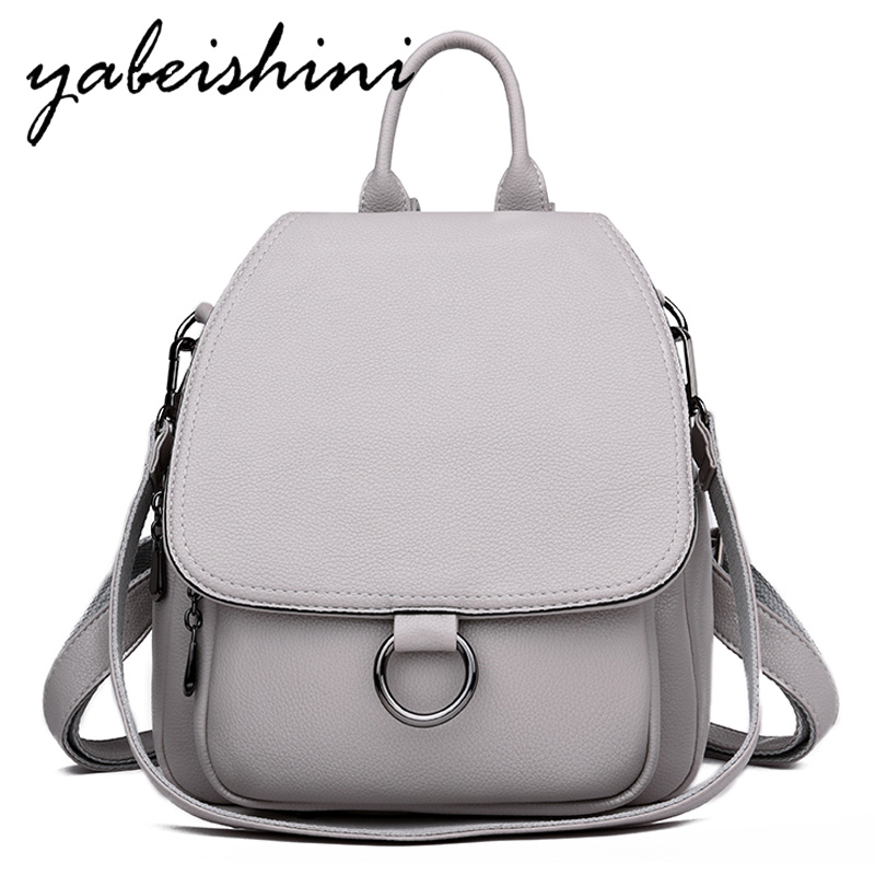 Gray Backpack for women 2019 Leather Backpack High capacity 