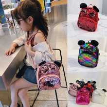 Student Girls Cartoon Sequin Bow Crossbody Bag Satchel Travel School Backpack