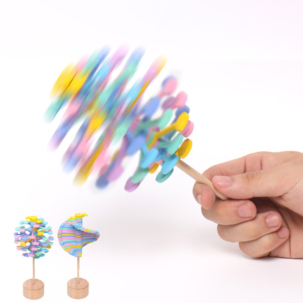 Wooden Obsessive-Compulsive Adult Decompression Stick Artifact Office Decoration Creative Toys Rotating Lollipop Hot!