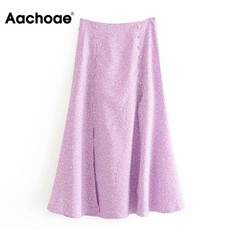 Aachoae Sweet Long Split Skirt Women Floral Print Vintage Casual Midi Skirt High Waist A Line Buttons Skirts Jupe Femme 2020