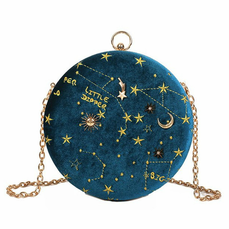 Fashion Round Starry Sky Suede Women Shoulder Bag Designer Chain Female Crossbody Messenger Bags Ladies Small Circle Purses 2019