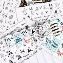 1 stücke Wasser Nagel Abziehbilder Weihnachten Neue Jahr Dekorationen Aufkleber Für Nägel Santa Claus Geschenk Sliders Tattoo Maniküre Decor TRSTZ797 808