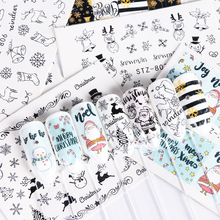 1pcs Water Nail Decals Xmas New Year Decorations Stickers For Nails Santa Claus Gift Sliders Tattoo Manicure Decor TRSTZ797 808