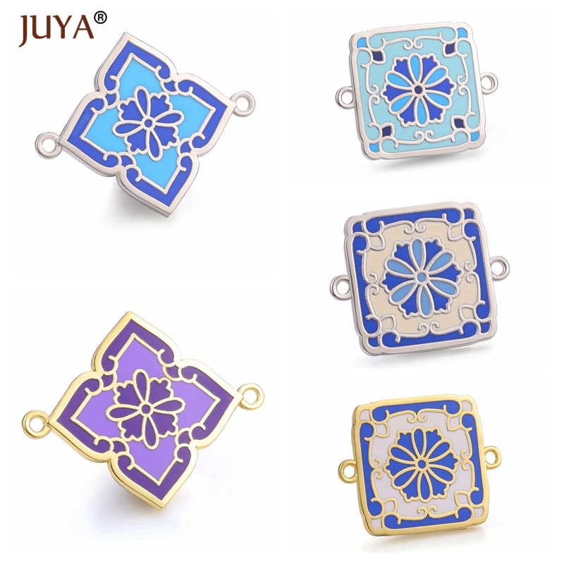 Juya Creative Accessories For Jewelry Making New Trendy Colour Enamel Charm Pendants Connectors DIY Jewelry Components