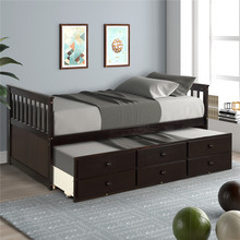 Bed Frame Captain's Bed Twin Daybed For Bedroom Home Furniture Bed Frame With Storage Drawers Trundle Bed Modern