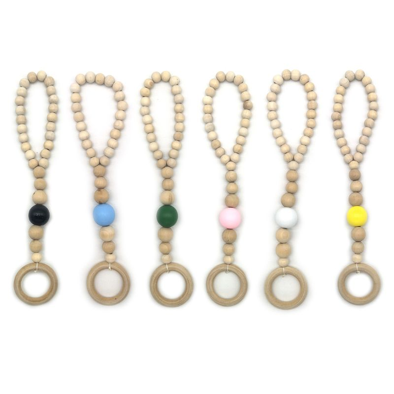 OOTDTY Nordic Style Baby Fitness Rack Pendant Appease String Beaded Bracelet Baby Play Gym wooden Pendant | Happy Baby Mama