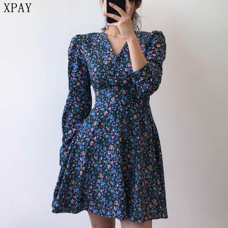 Women Dress Sexy V-Neck Vintage Elegant Sweet High Street Mini Dress 2020 Summer New Long Sleeve Floral Print Plus Size Dress