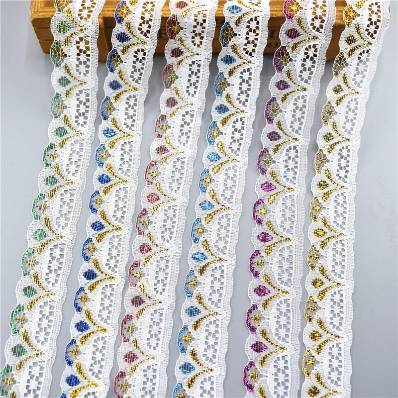 10 ярдов/партия кружевная лента 28 мм ширина одежда ювелирные изделия вышитые белые кружева Отделка Ткань Швейные украшения аппликация 7 цвет...