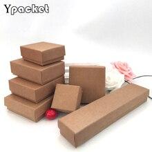 クラフト紙箱のための 50 ピース/ロットジュエリーボックスリングイヤリングペンダントネックレスボックスジュエリーオーガナイザーボックス