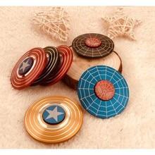 Hand Spinner Captain America Spiderman Toys Metal Adults Kids Children Education DIY Toy Hobbies B729