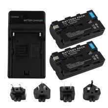 цена на RP 2 Pcs x NP-F550 / NP-F570 NP F550 NP F570 Full Decoding Battery + Wall Charger for Sony NPF550 NPF570 Digital Camera Battery