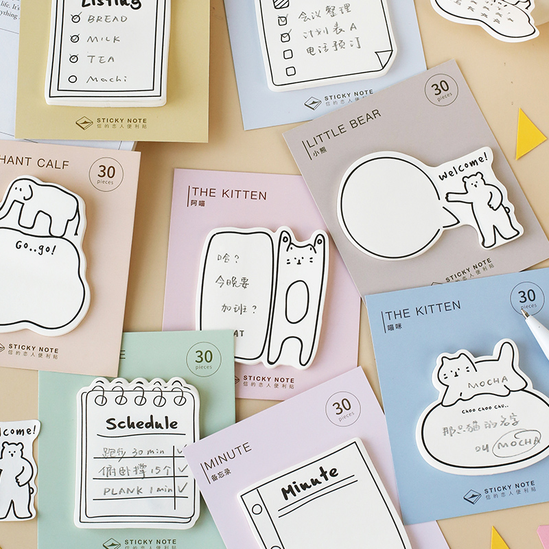 4pcs Cute Animal Sticky Note Cat Bear Schedule Diary Listing Adhesive Memo Pad Post Marker It Stickers Office School A6047