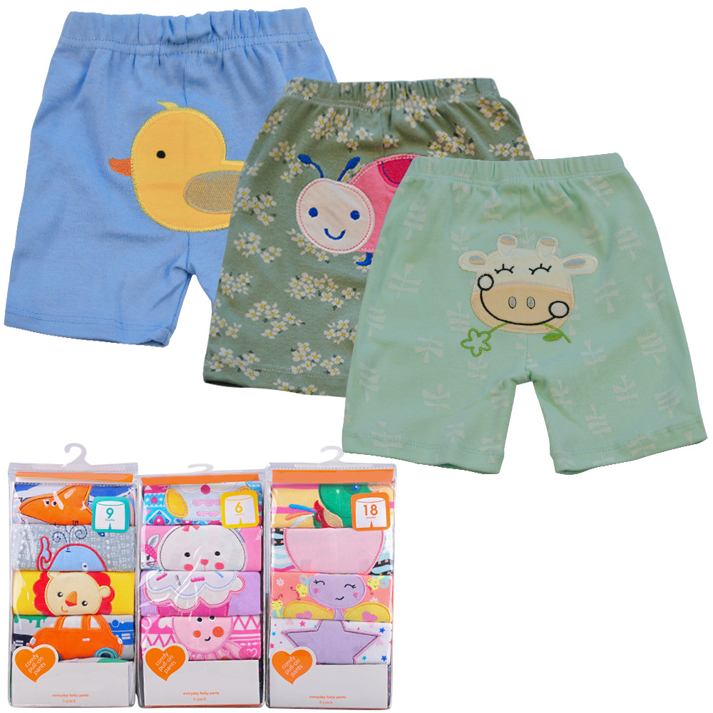 5 Pcs/lot Cotton Baby Shorts Newborn Baby Boys Clothes Girl Cartoon Short Trousers Casual Babes Bloomers Infant Toddler Clothing