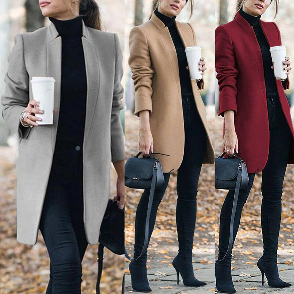 Office Lady Autumn Solid Color Stand Collar Woolen Long Coat Plus Size Cardigan