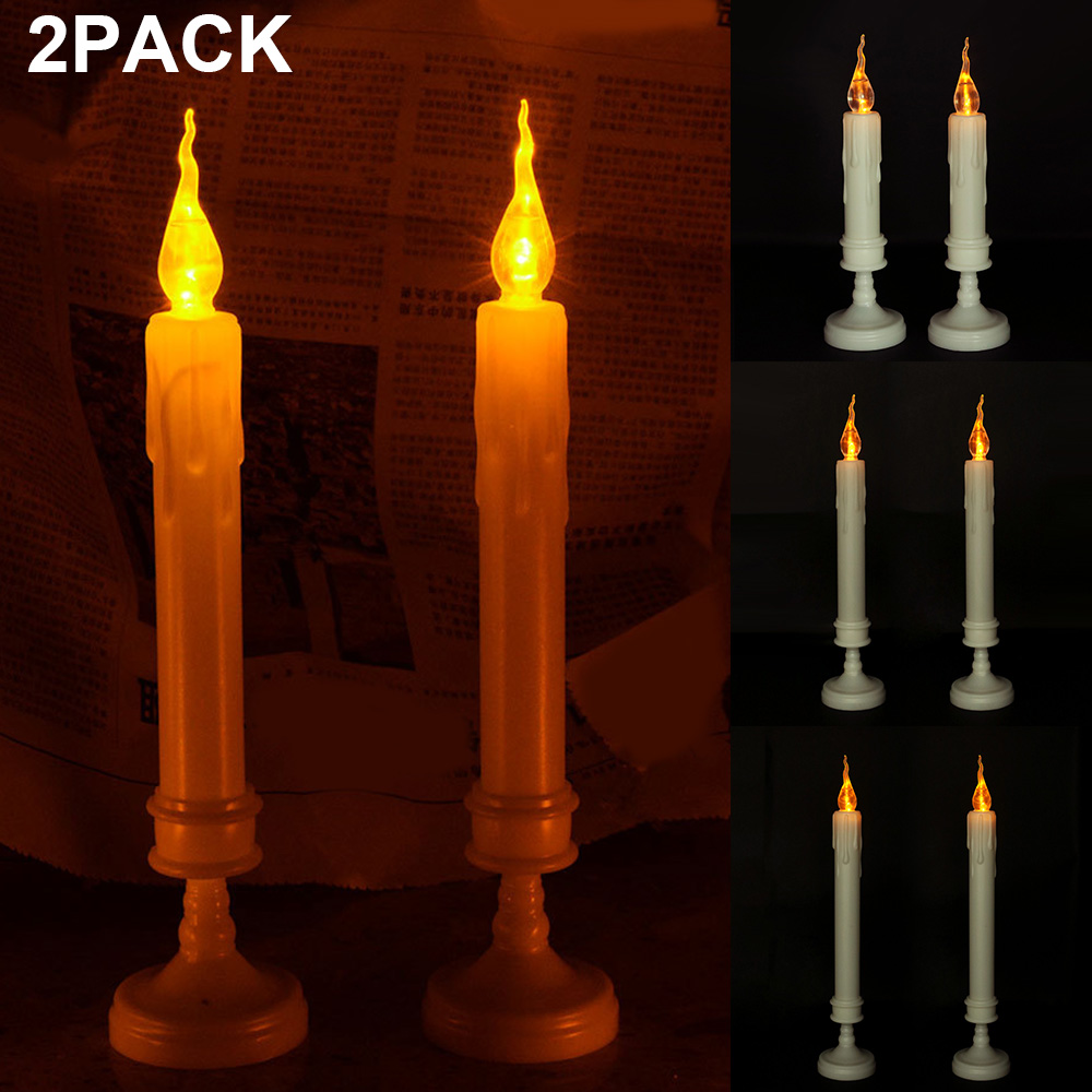2Pack Flameless LED Candle Lights Battery Operated Flickering Flame White Indoor Outdoor Candle Lights With Holder D40