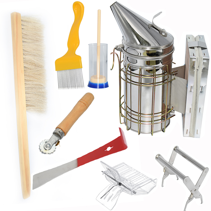 8PCS Stainless Steel Beekeeping Bee Hive Smoker Heat Shield Protection Scraper Queen Catcher Equipment Apiculture Tools Set