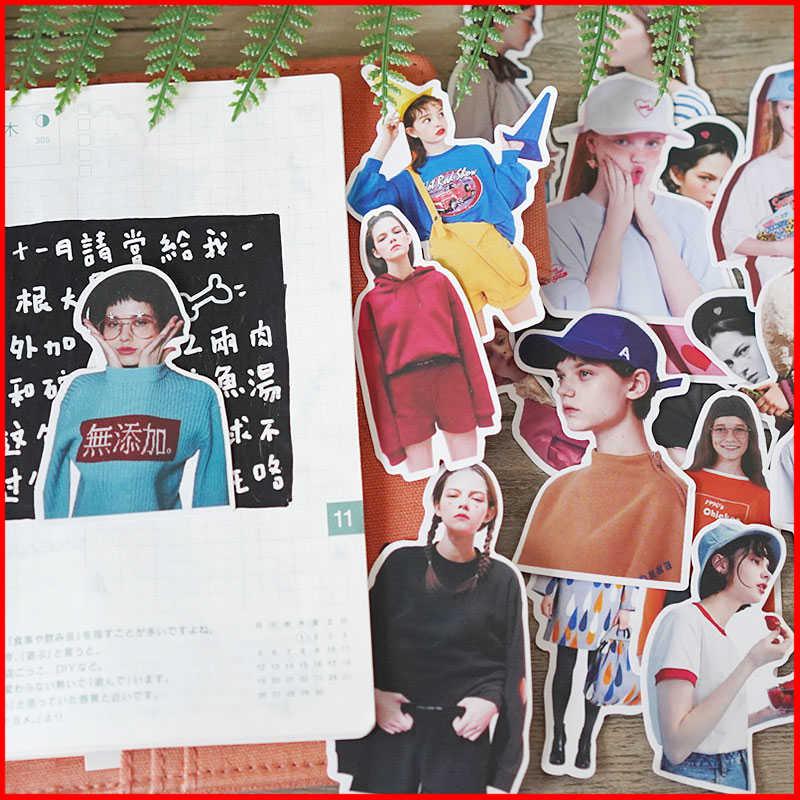 ญี่ปุ่นสาว vintage ส่วนบุคคลสติกเกอร์สมุดภาพ scrapbooking วัสดุส่วนบุคคลสติกเกอร์ happy planner ขยะ journal