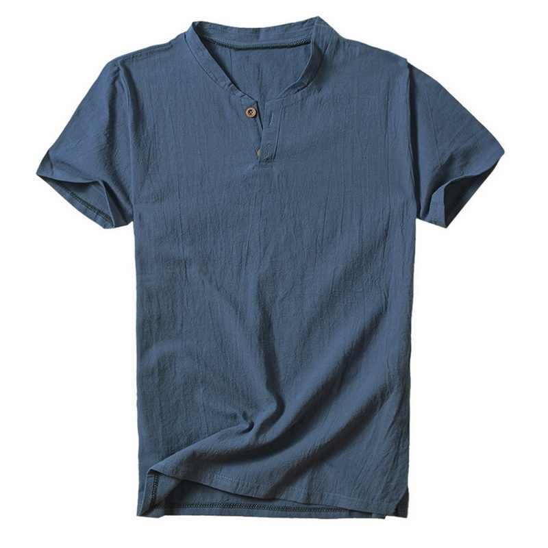2020 sommer Mens V Neck Baumwolle T-Shirt Leinen Kurzarm Casual Henley Tops Homme Taste Feste Dünne Streetwear