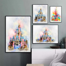 Disney Princess Castle Watercolor Canvas Painting Sleeping Beauty Magic Castle Prints Poster Wall Art for Kids Room Decor Cuadro