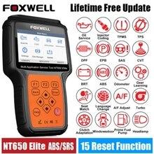 FOXWELL NT650 Elite skaner samochodowy OBD2 czytnik kodów pełny układ ABS Airbag DPF Reset oleju OBD 2 narzędzie diagnostyczne do samochodów