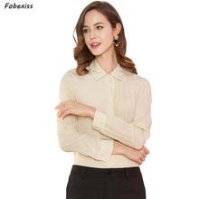 100% Natural Silk Blouse Women Fall 2019 Long Sleeve Buttoned Down Shirt Crepe Chiffon Mulberry Apricot Office