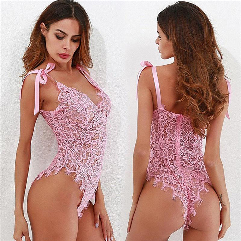 Women's Sexy Lingerie Erotic Sex See-through Lace Floral Nightwear Bodysuits Sleepwear Strap Lace Up Teddies Babydoll