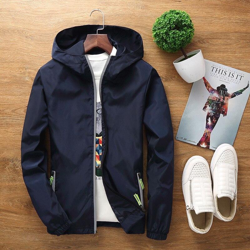 Windbreaker Jacket Male 6XL 7XL New Fashion Zipper Reflective Jacket Men Windbreaker Casual Hooded Thin Jacket Coat