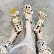 Sandals 2020 new female fairy wind wear fashion summer flowers high-heeled word two wear thick-heeled high-heeled slippers clear panel two part heeled sandals