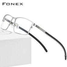 Tytanowe okulary optyczne rama mężczyźni Ultralight Square krótkowzroczność okulary korekcyjne 2019 męskie metalowe pełne bezśrubowe okulary