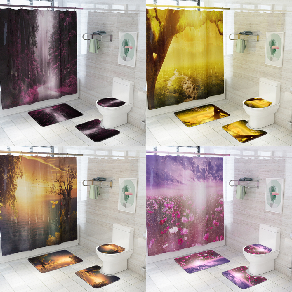 Lily Flowers Pattern Bathroom Shower Curtain Bath Rug Toilet Seat Cover Mat Sets