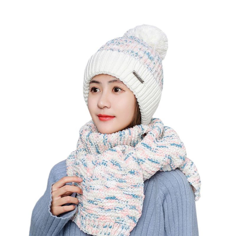 Womens Winter Plush Lined Pompom Beanie Hat Long Scarf Set Chunky Colored Ribbed Knit Cuffed Skull Cap Neck Warmer